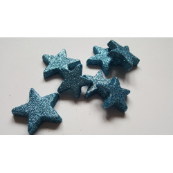 Tyrkysové hvězdy glitterové