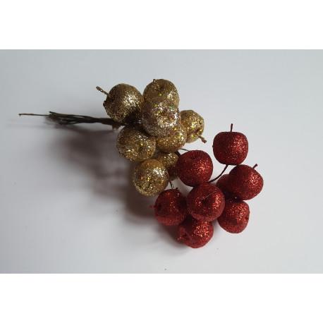 Jablíčka s glittrem na drátku