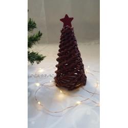 Pletený stromek hnědo - červený
