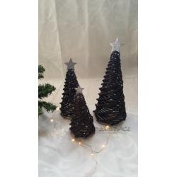 Pletený stromek černo - stříbrný