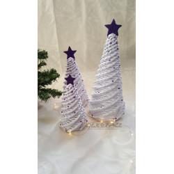 Pletený stromek bílo - fialový