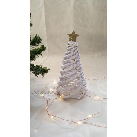 Pletený stromek bílo - zlatý