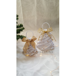 Pletený zvonek bílo - zlatý